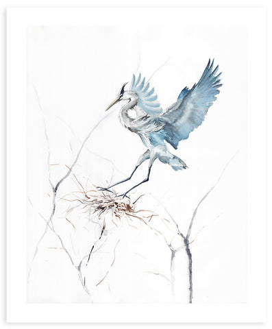 Blue Heron Watercolor Painting - Annie Moran