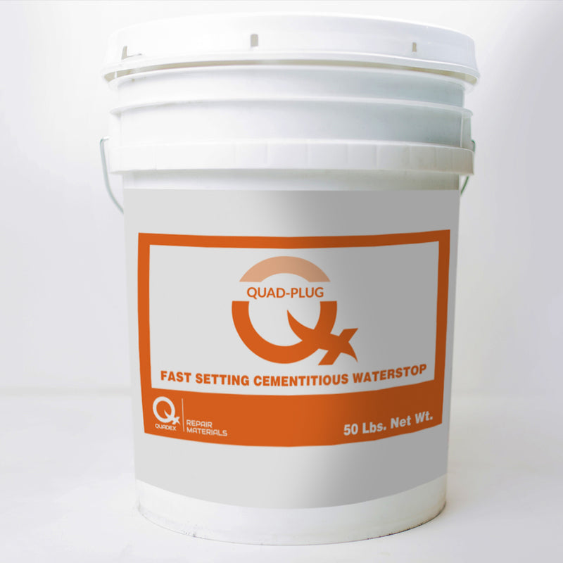 Quad-Plug™<br><H5>Hydraulic Water Stop Cement<br>$1,116 per Pallet<br>(Qty. discounts apply)</H5>