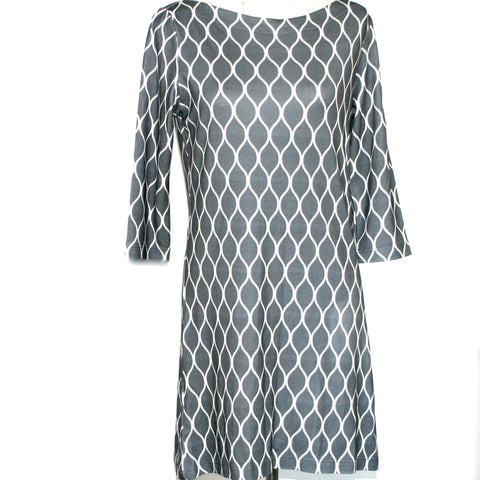 Boat Neck Dress- Grey Waves