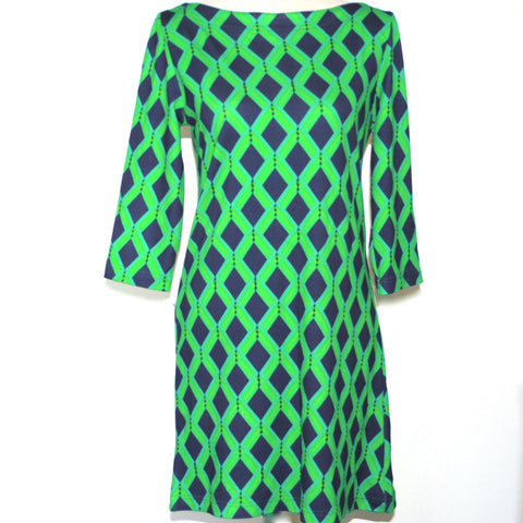 Boat Neck Dress- Green Diamonds