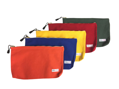 "5 Pack Set Heavy Duty Canvas Pouch Tool Bag Metal Zipper with Pull Tab 13"" x 8"" x 1.5"" Storage Carry Organizer Pouch"