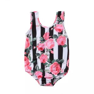 Stripe Rose One Piece
