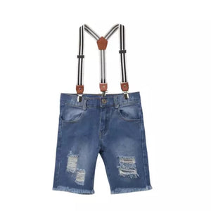 Suspender Denim Shorts