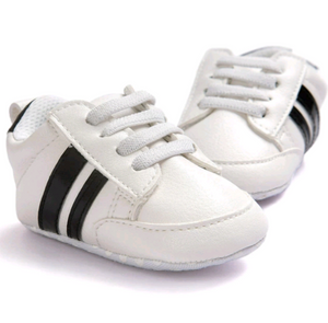 Mini Kicks - White with Black Stripes