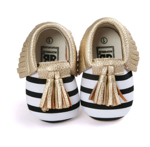 Baby Mocs - Black and White Stripe with Gold Trim