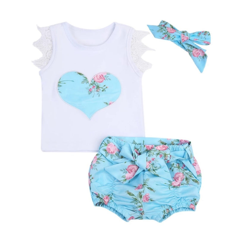 Blue Floral Heart 3pc Set