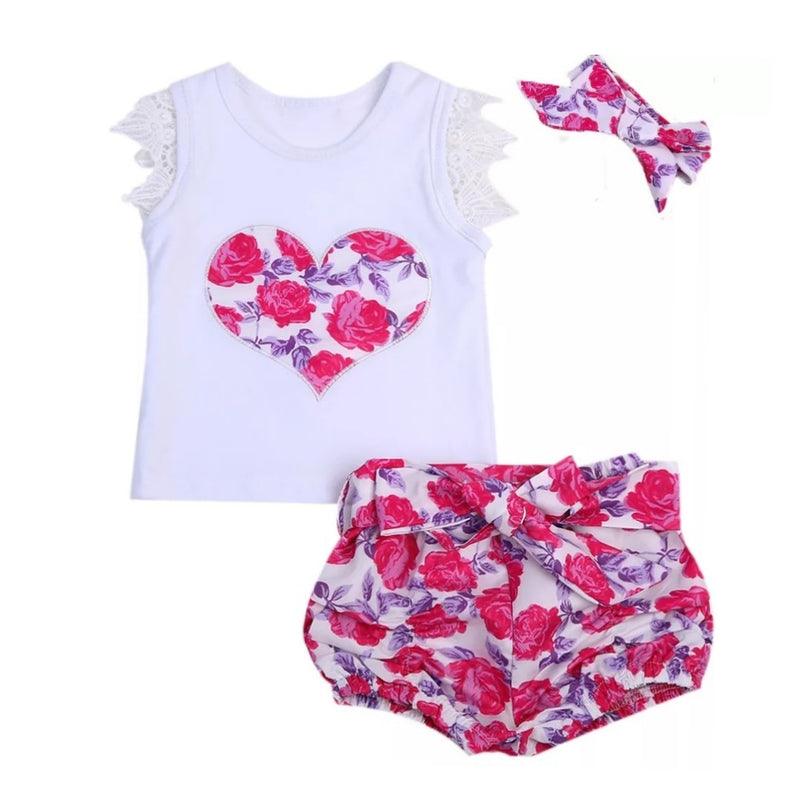 Pink Floral Heart 3pc Set