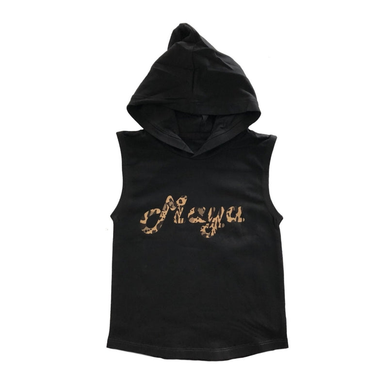 Personalised Name Leopard Sleeveless Hoodie - MLW By Design