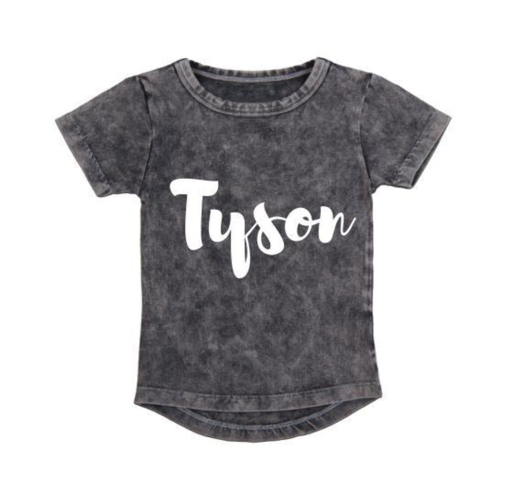 Personalised Name Grey Stonewash Tee - MLW By Design