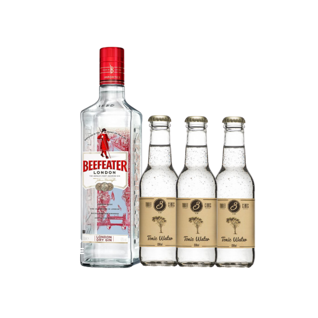 Beefeater Gin + 3 Bottles Three Cents Tonic 200ml