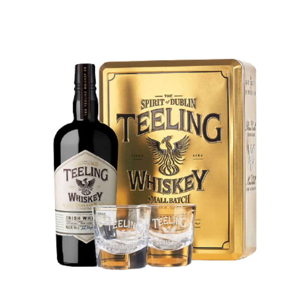 Teeling Small Batch with 2 Glasses in Gold Tin Can