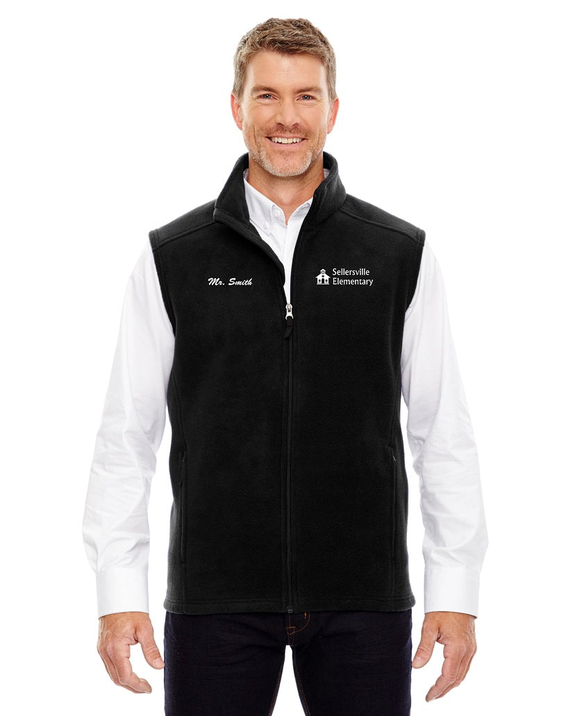 Sellersville Men's Black Fleece Vest w/ Left Chest Embroidery 88191
