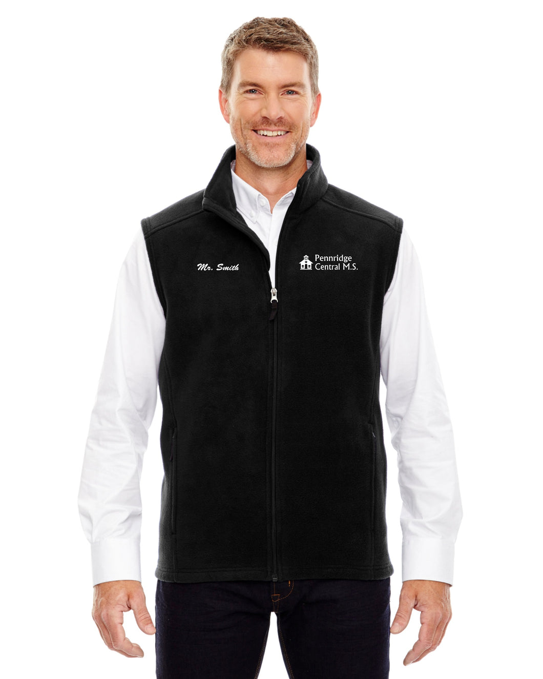 Penn Central Men's Black Fleece Vest w/ Left Chest Embroidery 88191