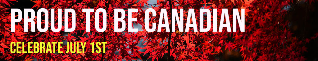 Canada Day banner in front of red maples leaves on tree branches