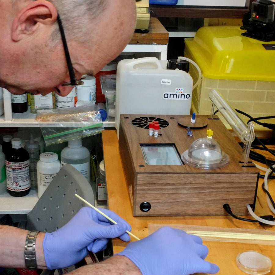 elderly man streaking bacteria at a DIYbioTO space, during a Genetic Engineering DIY biohacking virtual lessons by Amino labs STEM biotechnology kits and school laboratory equipment / home laboratory equipment / biohacking laboratory equipment