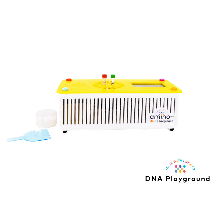DNA playground home genetic engineering lab, biohacking lab, for teenager home biology experiments, STEM experiments as part of Amino Labs' Zero to Genetic Engineering hero starter pack -  Learn what is DNA, what is a gene, cell theory, genetic engineering, bioart, biotechnology, biohacking and genetic engineering with the world's first biohacking and biotechnology STEM beginner's starter kits