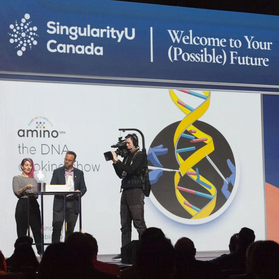 Practice Genetic engineering, biotechnology, gene-editing, biohacking, board and microbiology hands-on with this made-for-beginners STEM laboratory equipment , the DNA Playground - live at Singularity University - first live on-stage biohacking