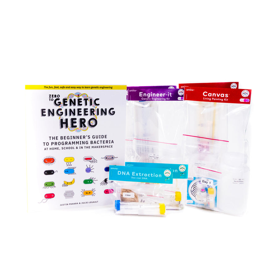 Teach what is DNA, what is a gene, cell theory, genetic engineering, bioart, biotechnology, biohacking and genetic engineering with the world's first biohacking and biotechnology STEM teacher tester pack from amino labs - NGSS LS, MS, life science high school life science middle school biology & genetics module