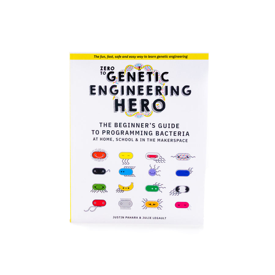 Zero to Genetic Engineering Hero Beginner's guide book as part of Amino Labs' Zero to Genetic Engineering hero starter pack for  middle school science, biology, genetics, high school science, biology, genetics, NGSS.  Learn what is DNA, what is a gene, cell theory, genetic engineering, bioart, biotechnology, biohacking and genetic engineering with the world's first biohacking and biotechnology STEM beginner's book and starter pack of science project kits, biotechnology project kits