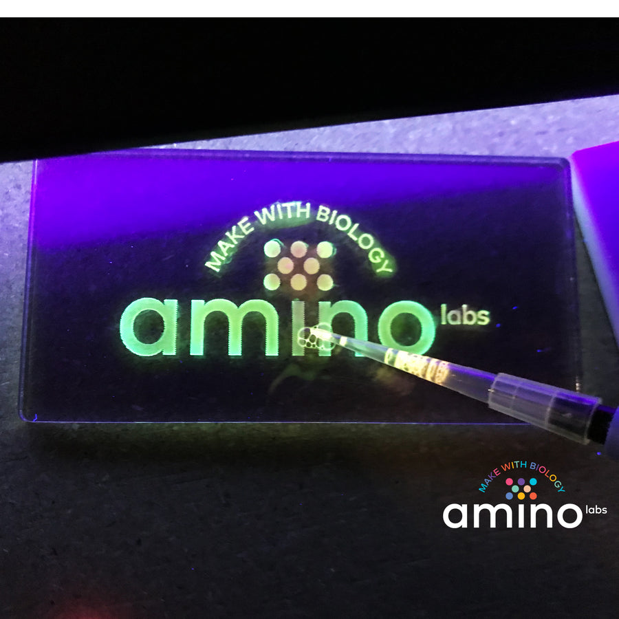 amino labs logo painted in colorful glowing bio-ink from a bacteria science experiment made with Amino Labs' Plate extract-it kit for extracting proteins - Learn genetic engineering skills while discovering biohacking, biotechnology, life science, DNA, protein, lysing cells, extracting DNA products with this STEM project kit, science kit, biohacking kit for home science, school science, makerspace, DIYbio, iGEM