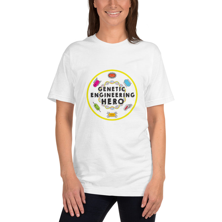 Zero to Genetic Engineering Hero t-shirt, lab wear, show your love of science projects, STEM, genetic engineering, biohacking, biotechnology, synthetic biology, life science, DNA, genetics