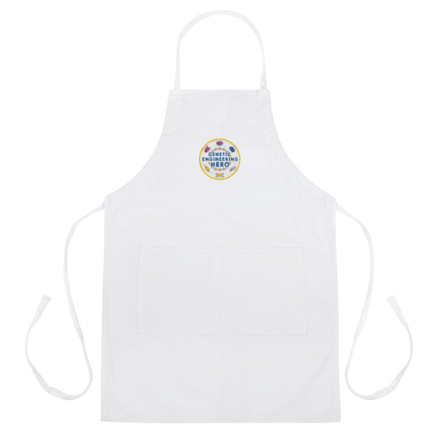 Zero to Genetic Engineering Hero apron smock, lab wear, show your love of science projects, STEM, genetic engineering, biohacking, biotechnology, synthetic biology, life science, DNA, genetics