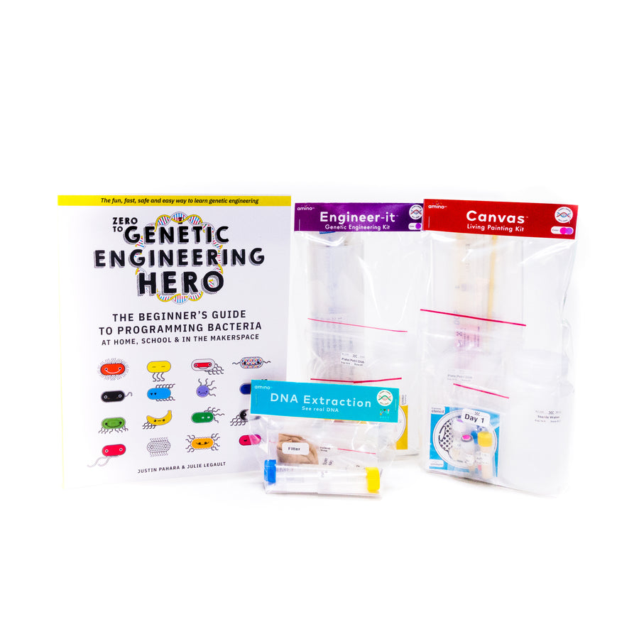 Learn what is DNA, what is a gene, cell theory, genetic engineering, bioart, biotechnology, biohacking and genetic engineering with the world's first biohacking and biotechnology STEM beginner's starter kits: Zero to Genetic Engineering hero starter pack