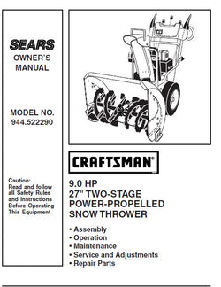 "944.522290 Manual for Craftsman Snowblower 27"" Two Stage 9 HP"
