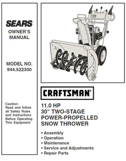 944.522300 Manual for Craftsman Dual Stage Snowblower 30""