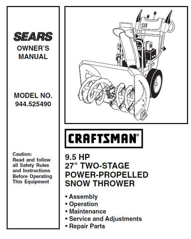 944.525490 Manual for Craftsman Dual Stage Snowblower 9.5 HP 27""