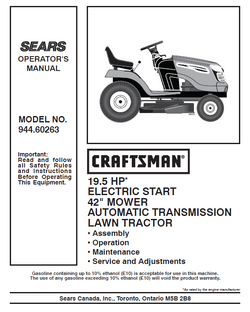 "944.60263 Manual for Craftsman 19.5 HP 42"" Lawn Tractor"