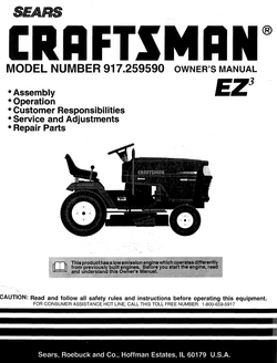 C944-608991 Craftsman Ride-on Mower Owners Manual C917-259590