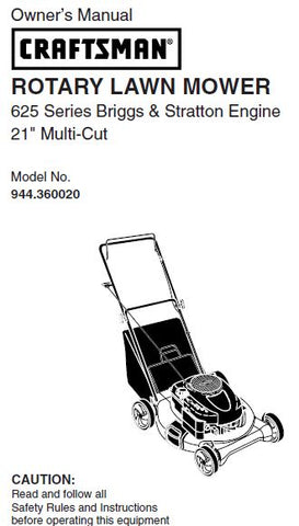 "944.360020 Manual for Craftsman 21"" Multi-Cut Lawn Mower"