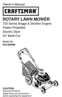 944.362080 Manual for Craftsman Self-Propelled Lawn Mower
