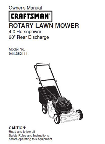 "944.362111 Manual for Craftsman 20"" Rear Discharge Lawn Mower"