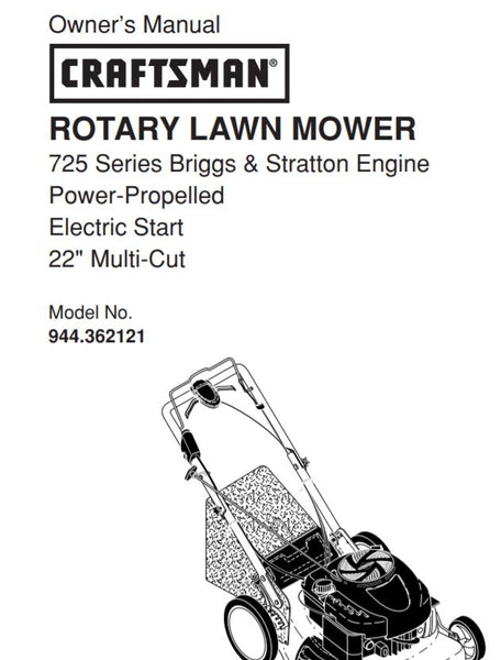 "944.362121 Manual for Craftsman 22"" Multi-Cut Electric Start Self-Propelled with Briggs Engine"