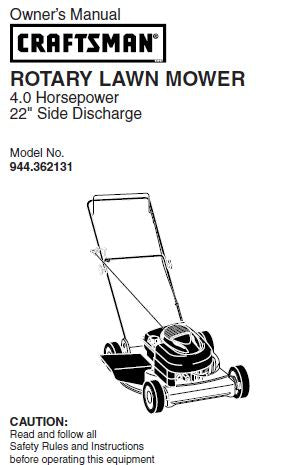 944.362131 Manual for Craftsman Lawn Mower