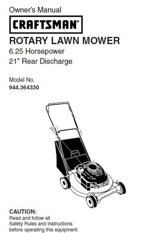 "944.364330 Manual for Craftsman 21"" Rear Discharge Lawn Mower"