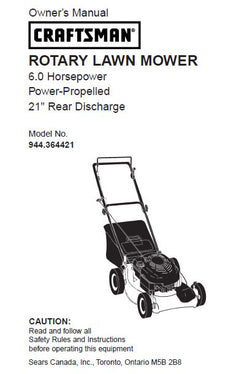 "944.364421 Manual for Craftsman 6 HP 21"" Rear Discharge Lawn Mower"