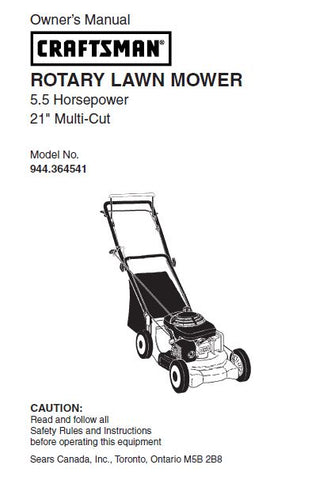 "944.364541 Parts Manual for Craftsman 21"" Multi-cut 5.5 HP Lawn Mower"