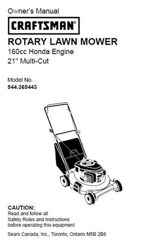 944.365443 Manual for Craftsman Lawn Mower with Honda Engine GCV-160-LAS3A