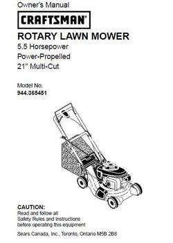 944.365451 Manual for Craftsman Power Propelled Lawn Mower with Honda Engine