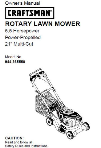 "944.365550 Manual for Craftsman 21"" Self-Propelled Multi-Cut Lawn Mower"