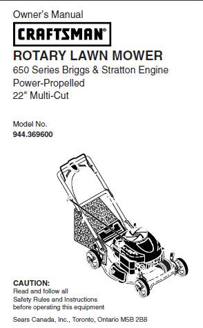"944.369600 Manual for Craftsman 22"" Self-Propelled Lawn Mower with Briggs & Stratton 650 Series Engine"