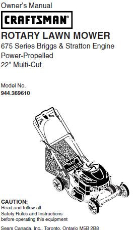 944.369610 Manual for Craftsman 22