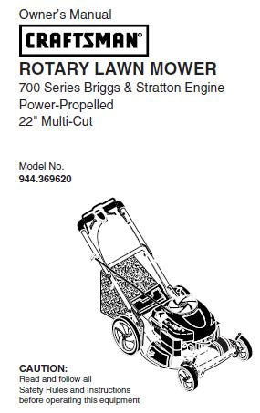 944 369620 Manual For Craftsman 22 Self Propelled Lawn Mower With Bri Dr Mower Parts