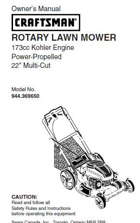 944.369650 Manual for Craftsman 22
