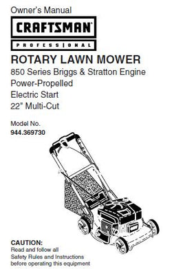 "944.369730 Manual for Craftsman 22"" Self-Propelled Electric Start Lawn Mower with Briggs & Stratton Engine"