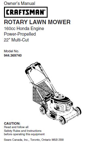 "944.369740 Manual for Craftsman 22"" Self-Propelled Lawn Mower with Honda Engine"