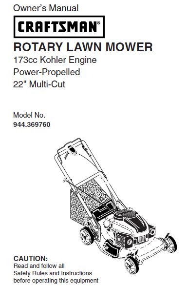 944.369760 Manual for Craftsman 22